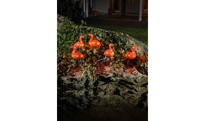 KONSTSMIDE LED-Dekofigur, LED Acryl Flamingos, 5er-Set, 40 bernsteinfarbene Dioden kaufen