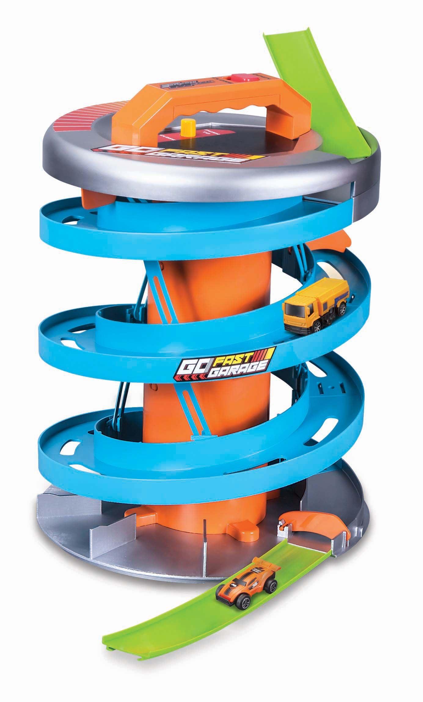 Maisto Spiel-Parkgarage GoFastGarage, inklusive 2 Fresh Metal Autos bunt Kinder Zubehör für Spielzeugautos Autos, Eisenbahn Modellbau
