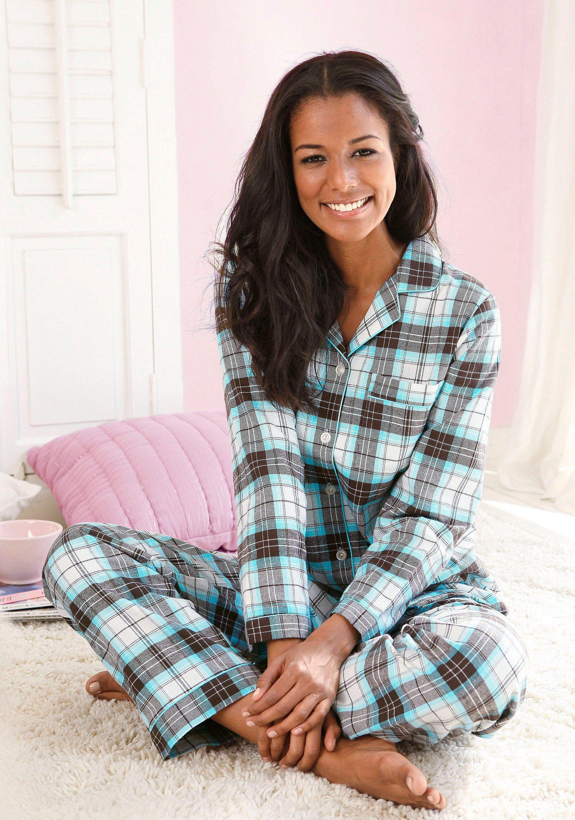 innovative design 9604d da874 Details zu Flanellpyjama Damen Mit Knopfleiste & Hemdkragen Pyjamas Vivance  Dreams