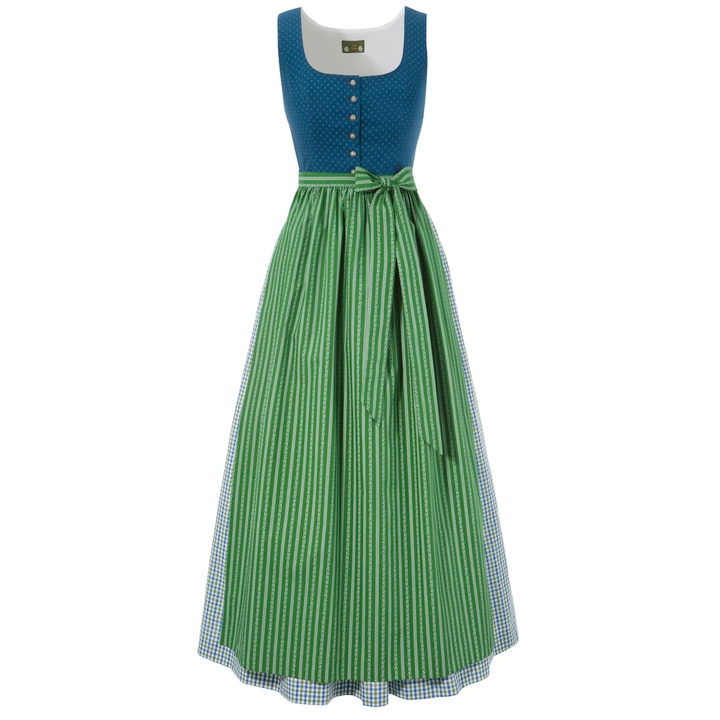 Love Nature Dirndl, (2 tlg.), lang mit traditionellem Mustermix - Made in Austria