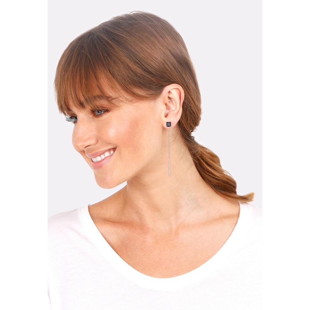Elli Paar Ohrhänger »Durchziehen mit Zirkonia Quadrat 925 Silber«
