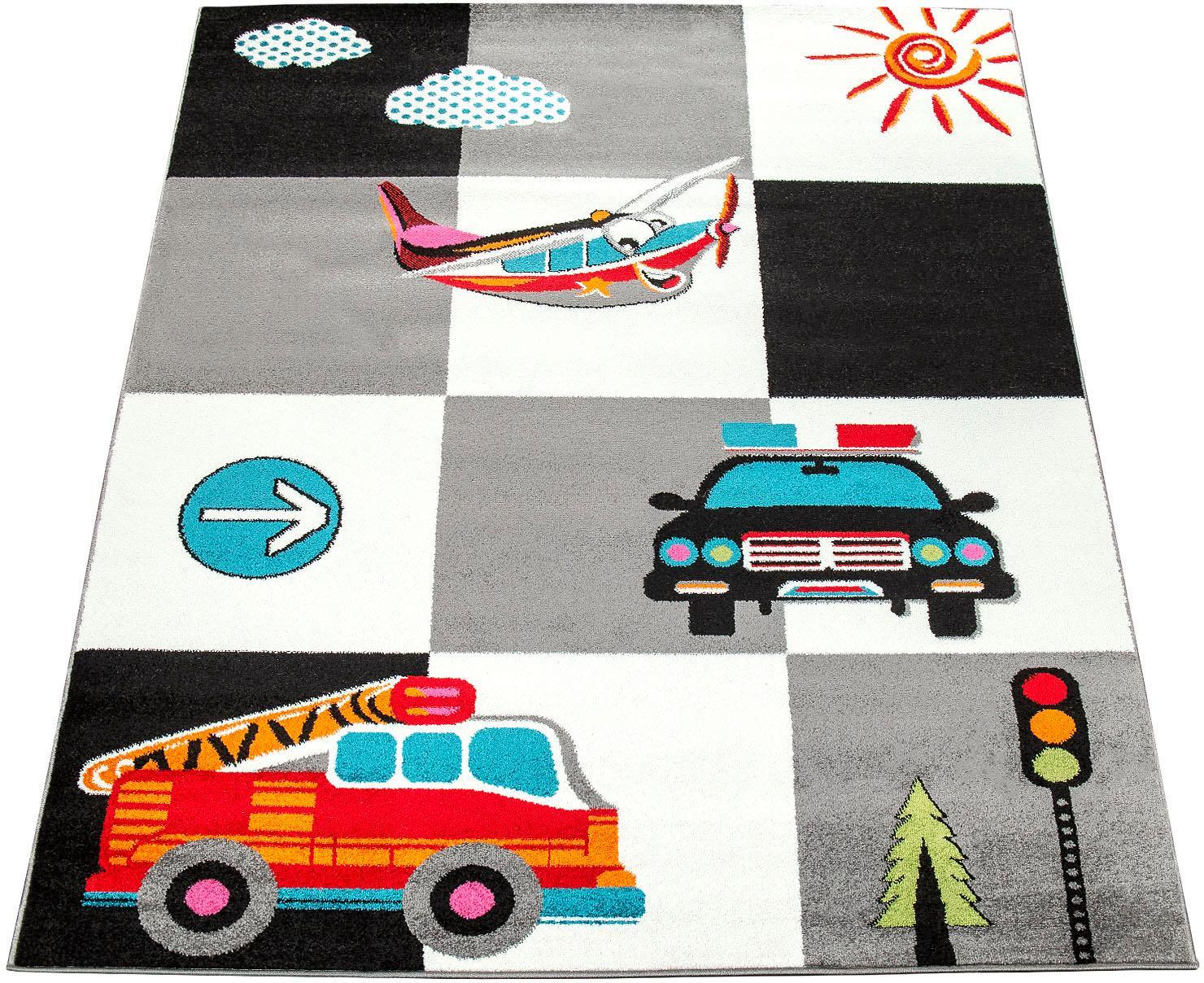 Paco Home Kinderteppich ECE 998, rechteckig, 14 mm Höhe, Kurzflor mit Verkehrsmittel Motiven, Kinderzimmer grau Kinder Bunte Kinderteppiche Teppiche