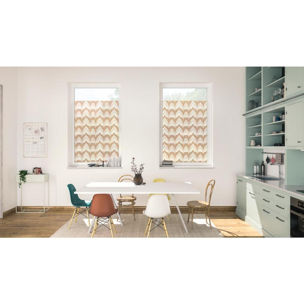 LICHTBLICK ORIGINAL Fensterfolie »Fensterfolie selbstklebend, Sichtschutz, Boho Zig Zag - Gelb«, 1 St., blickdicht, glattstatisch haftend