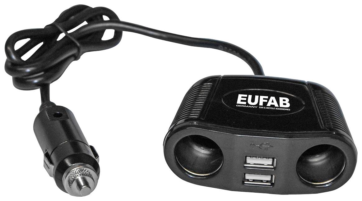EUFAB Zigarettenanzünder-Verteiler, 12 V, 4 in 1 schwarz Zigarettenanzünder-Verteiler Eufab