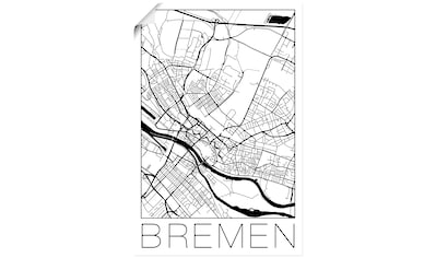 Artland Wandbild »Retro Karte Bremen Deutschland«, Deutschland, (1 St.), in vielen Größen & Produktarten - Alubild / Outdoorbild für den Außenbereich, Leinwandbild, Poster, Wandaufkleber / Wandtattoo auch für Badezimmer geeignet kaufen