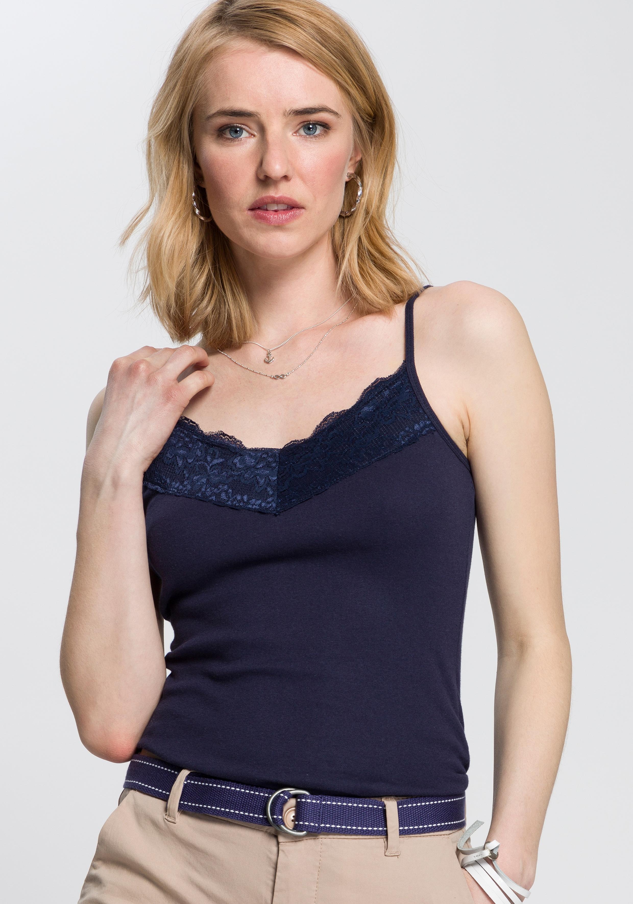 AJC Spaghettitop, mit Spitze blau Damen Spaghettitop Trägertops Tops