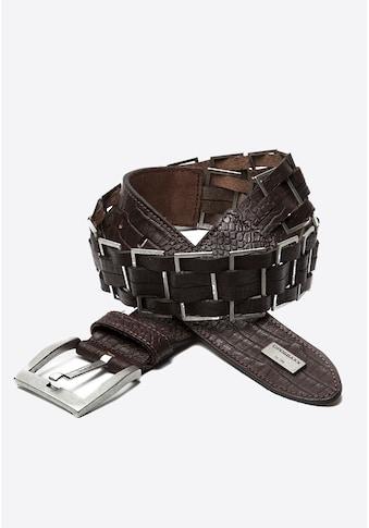 Cipo & Baxx Ledergürtel, mit modischen Metall-Elementen kaufen