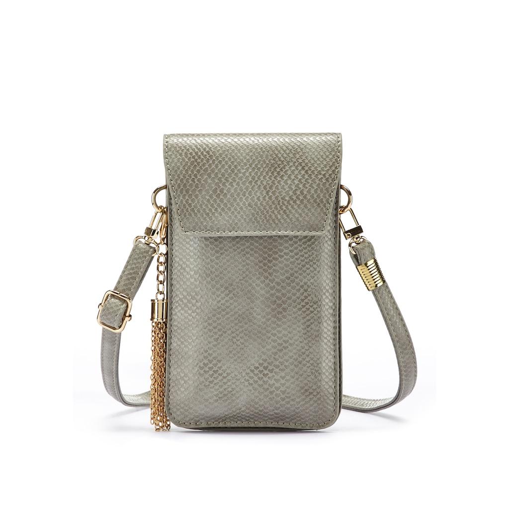 LASCANA Umhängetasche, modische Minibag, Handytasche zum Umhängen mit praktischem Sichtfenster, im Kroko Look und abnehmbarer Tassel