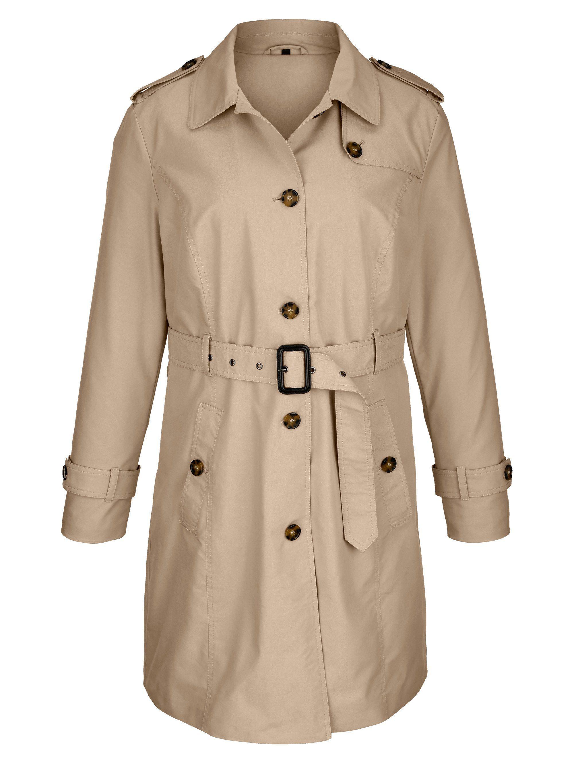 MIAMODA Trenchcoat in der Taille mit Gürtel und Schnalle zum Schließen   Bekleidung > Mäntel > Trenchcoats   Polyester - Baumwolle   Miamoda