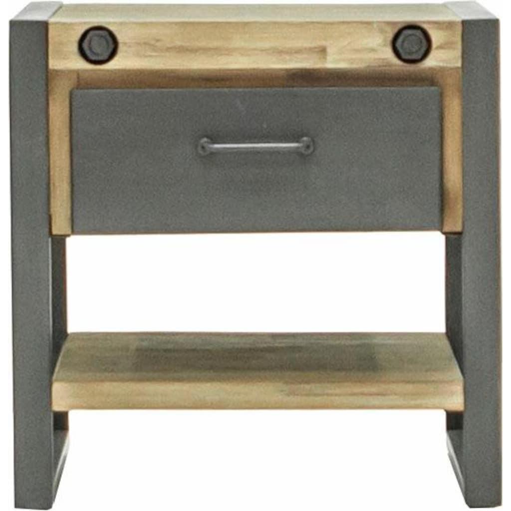 Quadrato Beistelltisch »Mirage«, Tischplatte, Seitenteile aus massiven Akazienholz, Gestell aus Metall