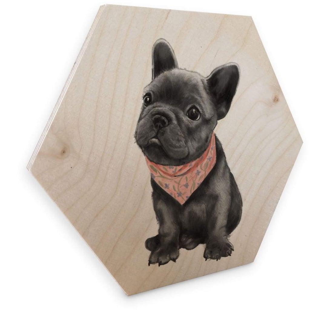 Wall-Art Holzbild »Französische Bulldogge Holzbild«, (1 St.)