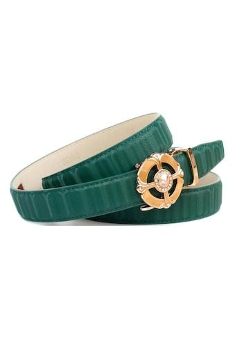 Anthoni Crown Ledergürtel, Gürtel aus innovativem Leder in 3D-Optik in grün kaufen