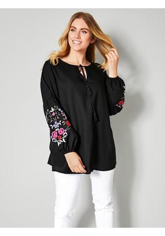Sara Lindholm by Happy Size Bluse mit Blumenstickerei kaufen