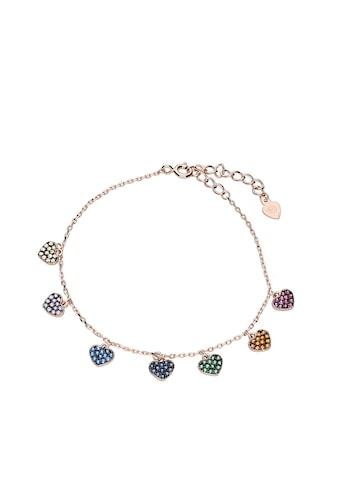 Smart Jewel Armband »Herzanhänger mit bunten Zirkonia Steinen, Silber 925« kaufen