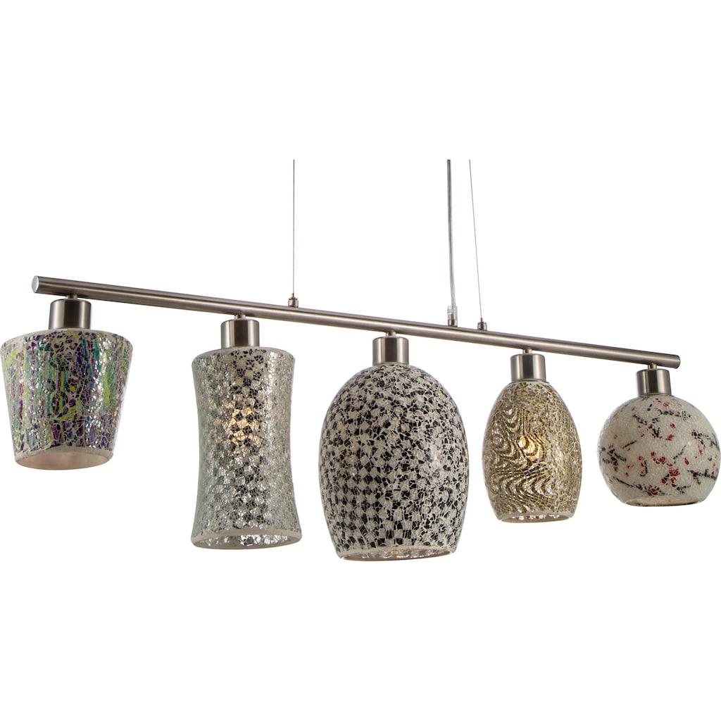 Nino Leuchten Pendelleuchte »AREZZO«, Hängeleuchte, fünf verschiedene Glasschirme in Mosaikoptik
