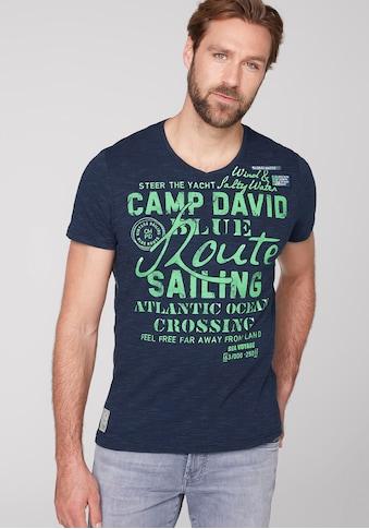 CAMP DAVID V-Shirt, mit großem Logofrontprint kaufen