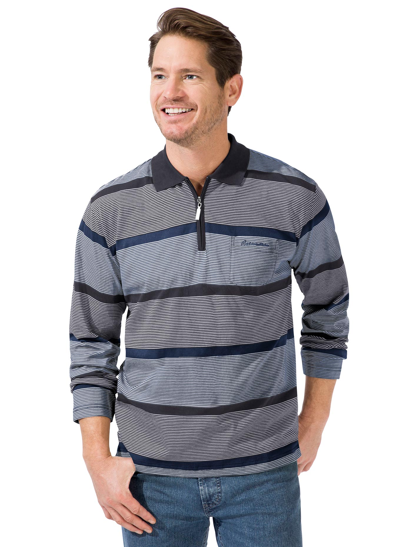 Langarm-Poloshirt blau Herren Langarm Shirts Poloshirts