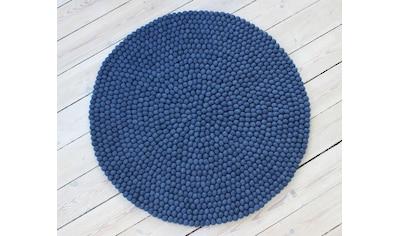 Wollteppich, »Uni Color«, Wooldot, rund, Höhe 23 mm, handgewebt kaufen