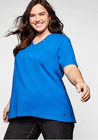 Sheego T-Shirt, in A-Linie mit Zierknöpfen am V-Ausschnitt kaufen