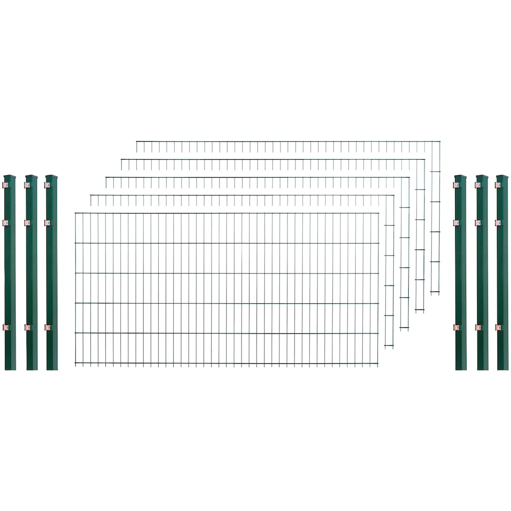 Doppelstabmattenzaun , 5 Stk., LxH: 10x1 m, grün