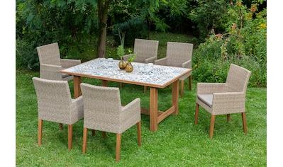 MERXX Gartenmöbelset »Torino«, 13 - tlg., 6 Sessel, Tisch 172x105 cm, Polyrattan/Akazie kaufen