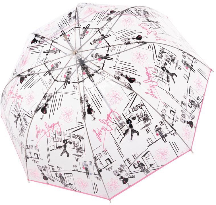 doppler Stockregenschirm Fiber Lang Automatik Transparent Let`s go Shopping | Accessoires > Regenschirme > Sonstige Regenschirme | Bunt | Doppler