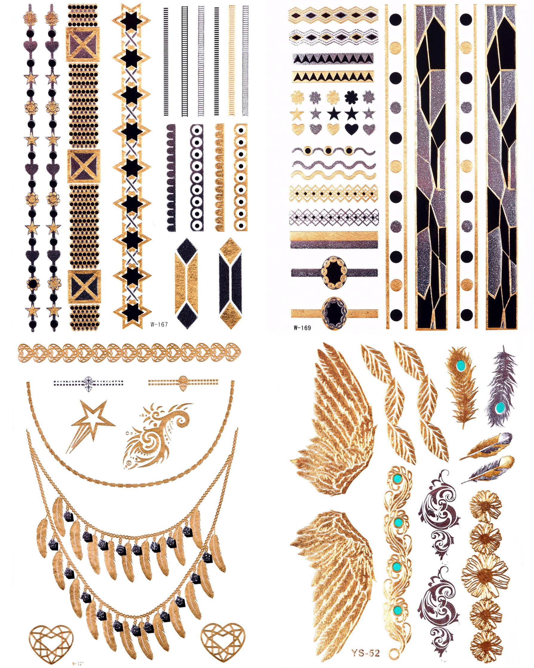 Schmuck-Tattoos Beautiful Phönix Tattoos zum Aufkleben (4-tlg) Preisvergleich