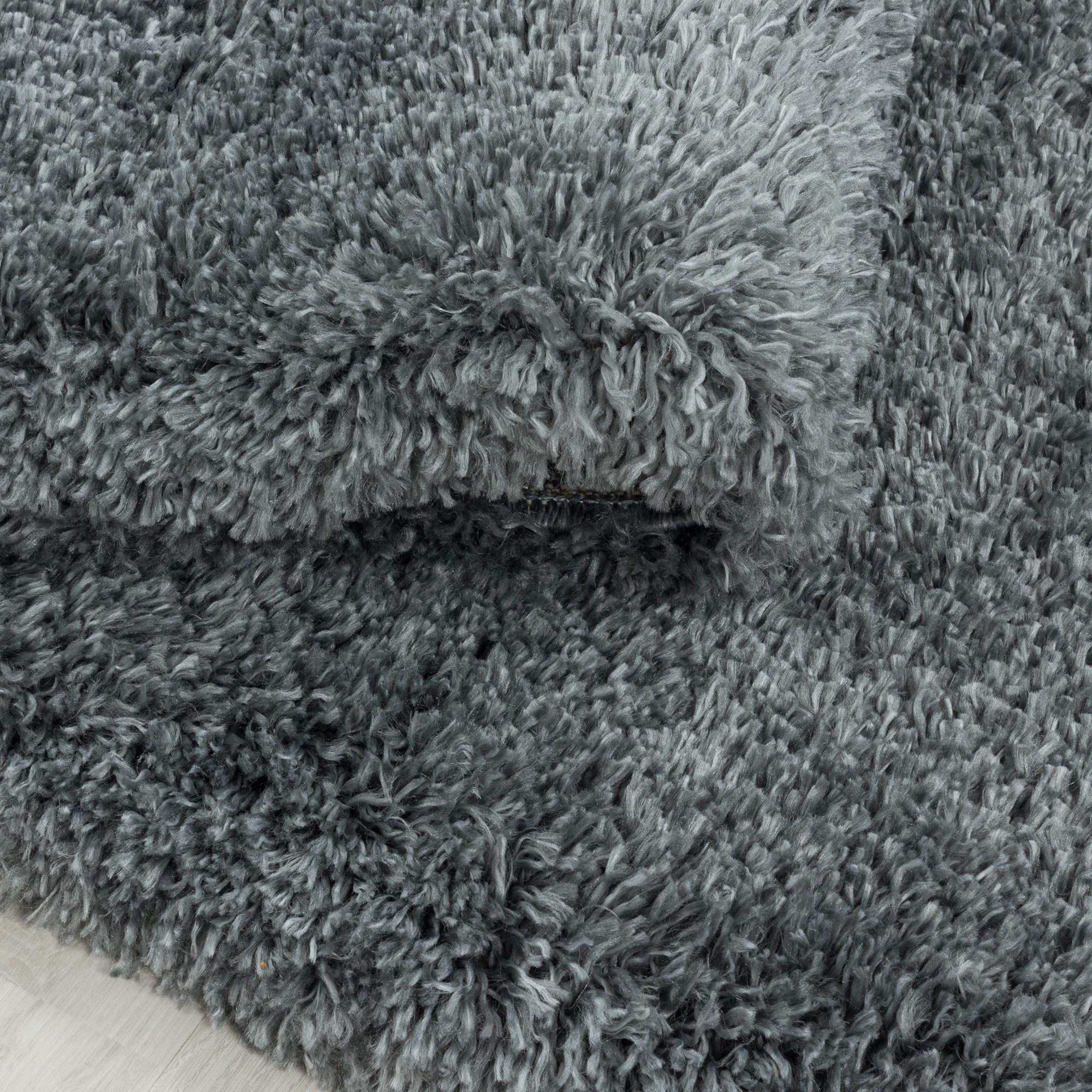 Ayyildiz Hochflor-Teppich FLUFFY 3500, rund, 50 mm Höhe grau Wohnzimmerteppiche Teppiche nach Räumen