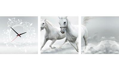 Conni Oberkircher´s Bild »Horses«, Pferde, (Set), mit dekorativer Uhr kaufen