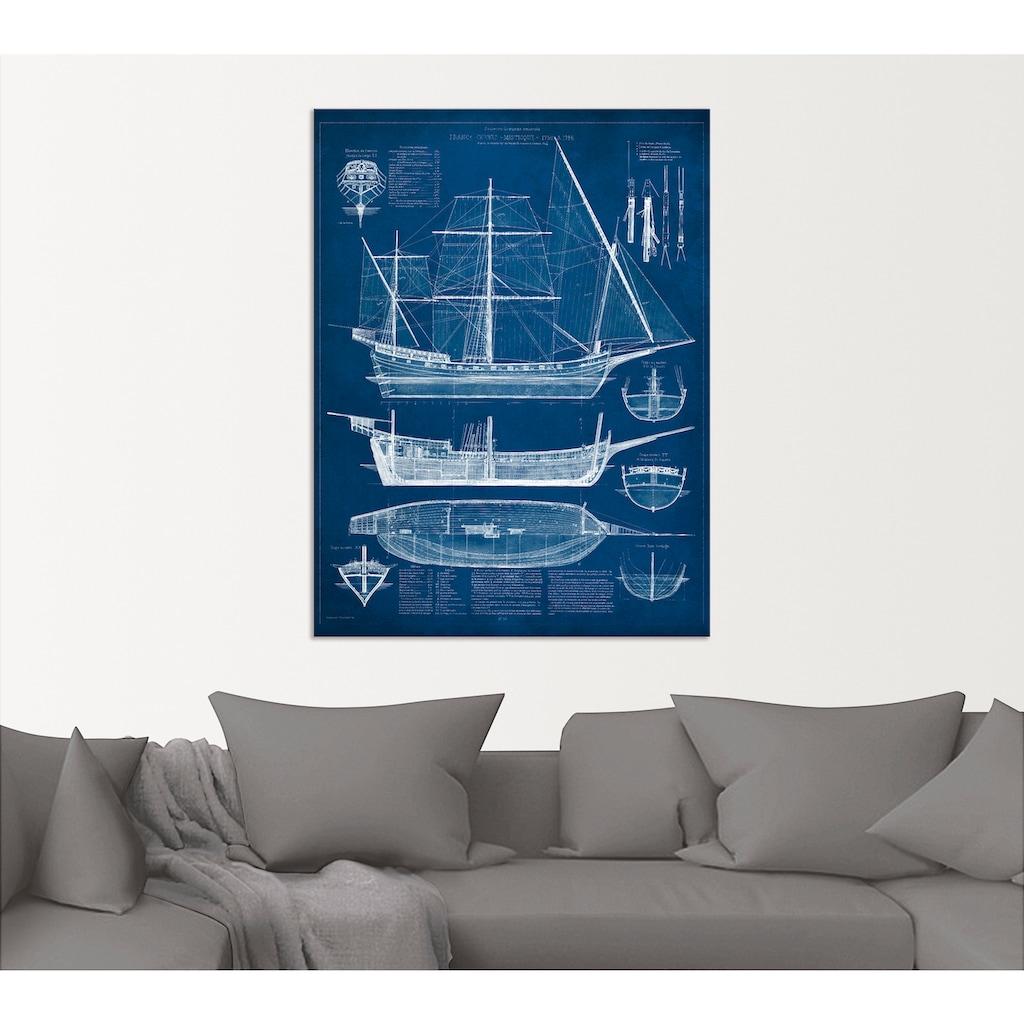Artland Wandbild »Entwurf für ein Antikes Schiff I«, Boote & Schiffe, (1 St.), in vielen Größen & Produktarten - Alubild / Outdoorbild für den Außenbereich, Leinwandbild, Poster, Wandaufkleber / Wandtattoo auch für Badezimmer geeignet