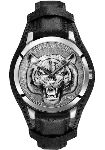 THOMAS SABO Quarzuhr »Rebel Tiger 3D schwarz-silber, WA0367-203-201-42 mm«, (Set, 2... kaufen