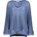 Please Jeans Rundhalspullover »M4977«, mit luftdurchlässigem Lochmuster