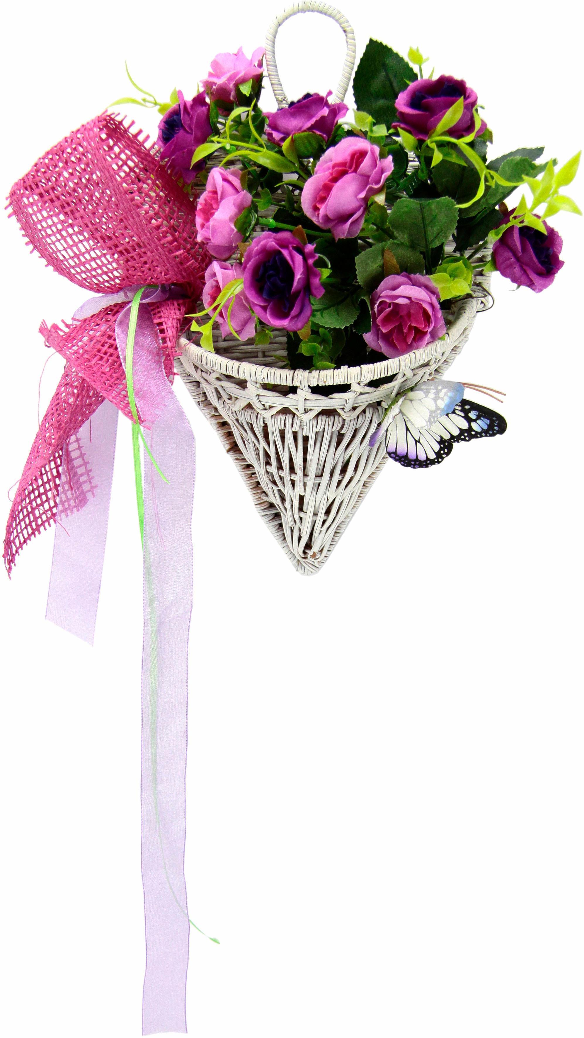 Kunstpflanze Rosen mit Schmetterling im Korb 30 cm Technik & Freizeit/Heimwerken & Garten/Garten & Balkon/Pflanzen/Kunstpflanzen/Kunst-Kränze