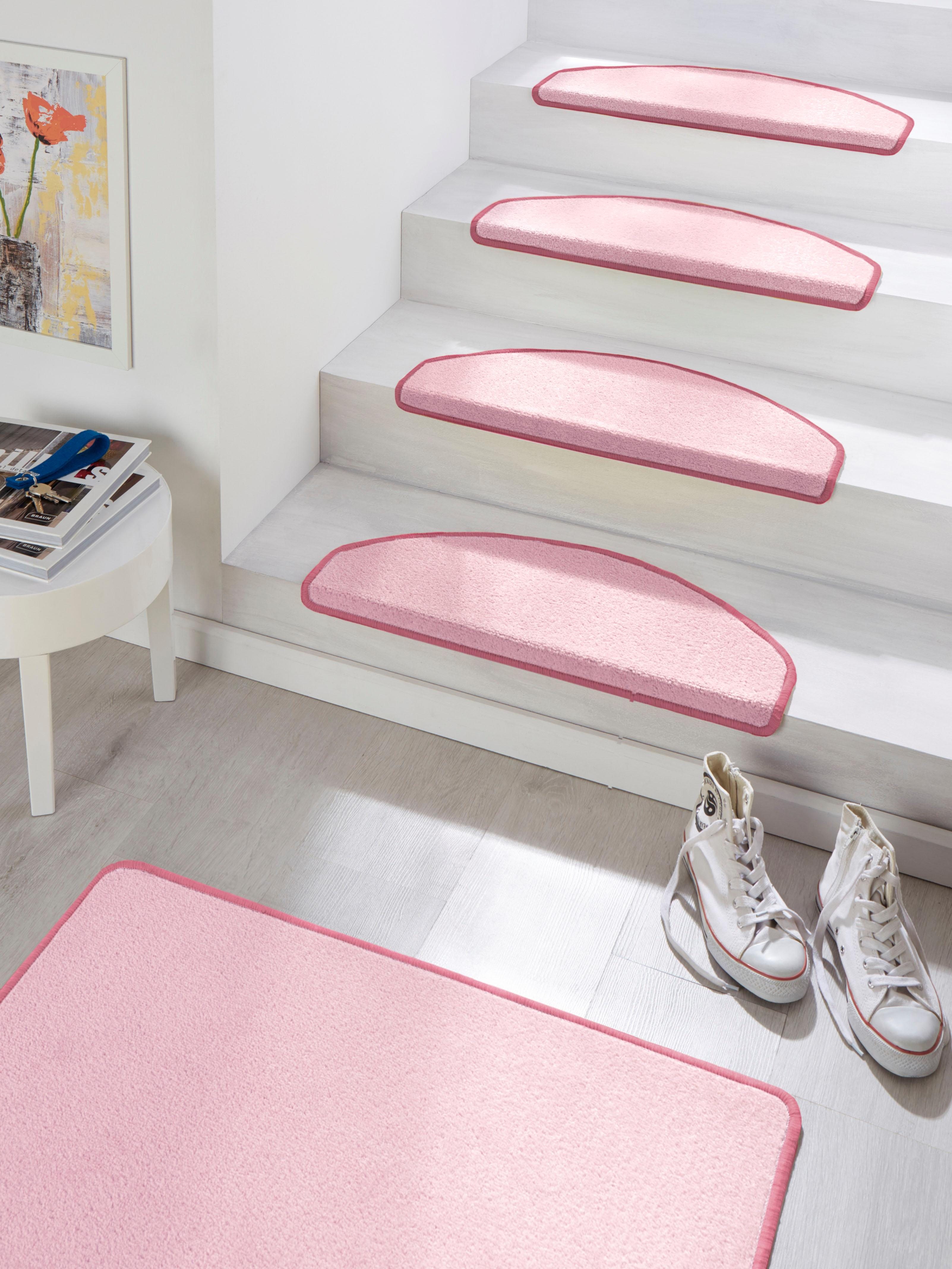 HANSE Home Stufenmatte Fancy, halbrund, 7 mm Höhe, große Farbauswahl, 15 Stück in einem Set rosa Stufenmatten Teppiche