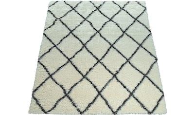 Paco Home Hochflor-Teppich »Maghreb 075«, rechteckig, 75 mm Höhe, Hochflor-Shaggy mit Rauten Design, Wohnzimmer kaufen