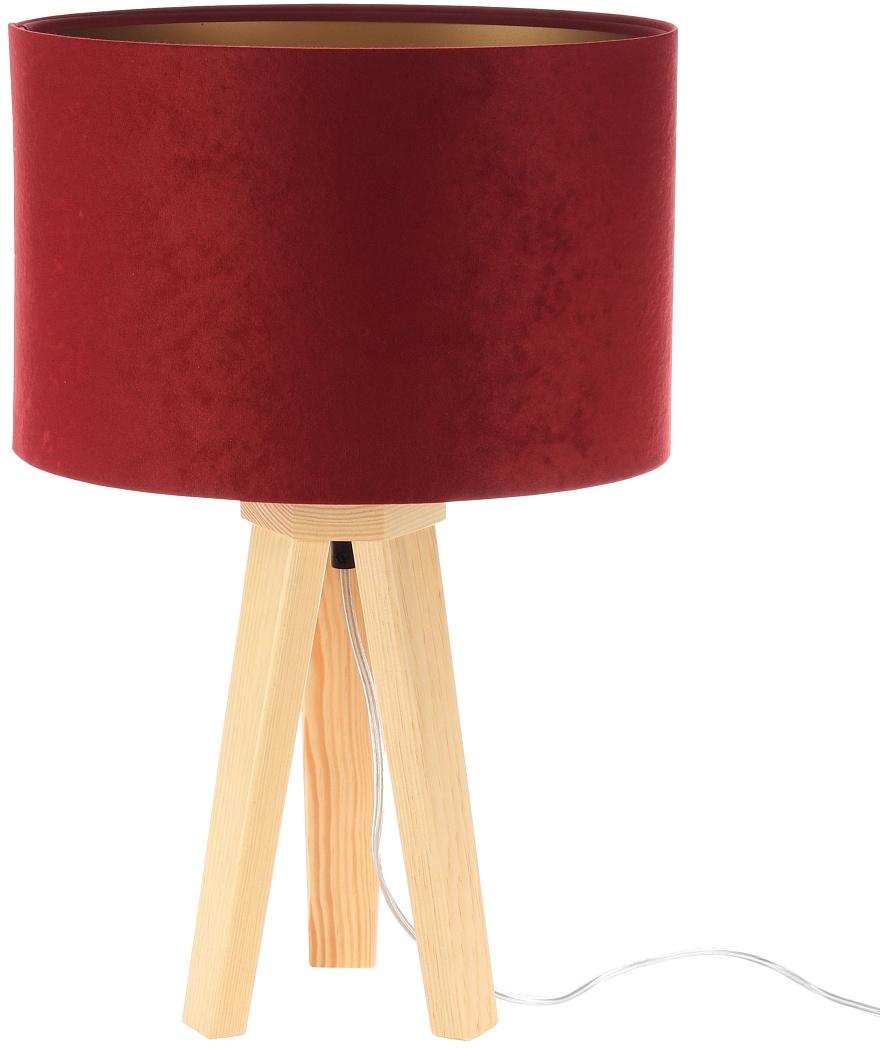 Jens Stolte Leuchten Tischleuchte Paula, E27, 2 St., Textiltischleuchte, rot, Holzfuß, Stofftischleuchte bordeaux/gold