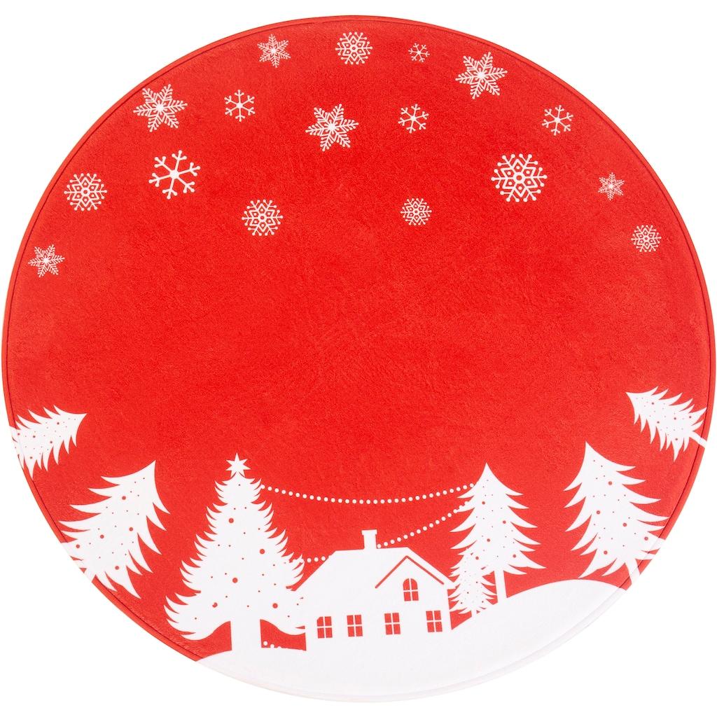 my home Teppich »Weihnachtsdorf«, rund, 15 mm Höhe, Tannenbaumteppich, Wohnzimmer