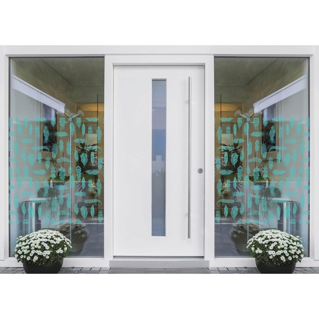 MySpotti Fensterfolie »Look Feathers turquois«, halbtransparent, glattstatisch haftend, 90 x 100 cm, statisch haftend