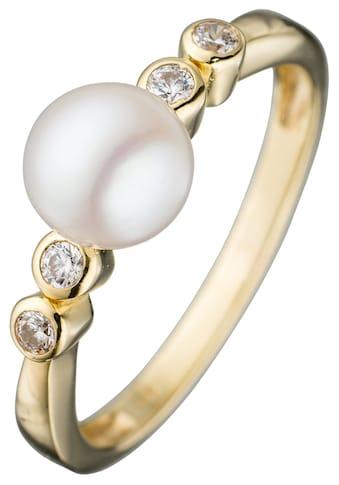 JOBO Perlenring, 333 Gold mit Süßwasser-Zuchtperle und Zirkonia kaufen