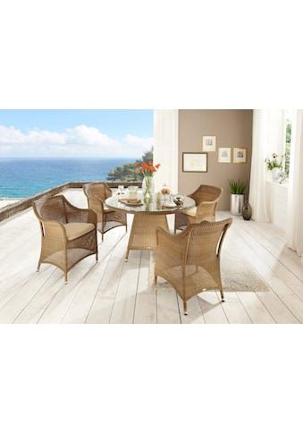 DESTINY Essgruppe »Sevilla«, 5 - tlg., 4 Stühle, Tisch 120 cm, Alu/Polyrattan kaufen