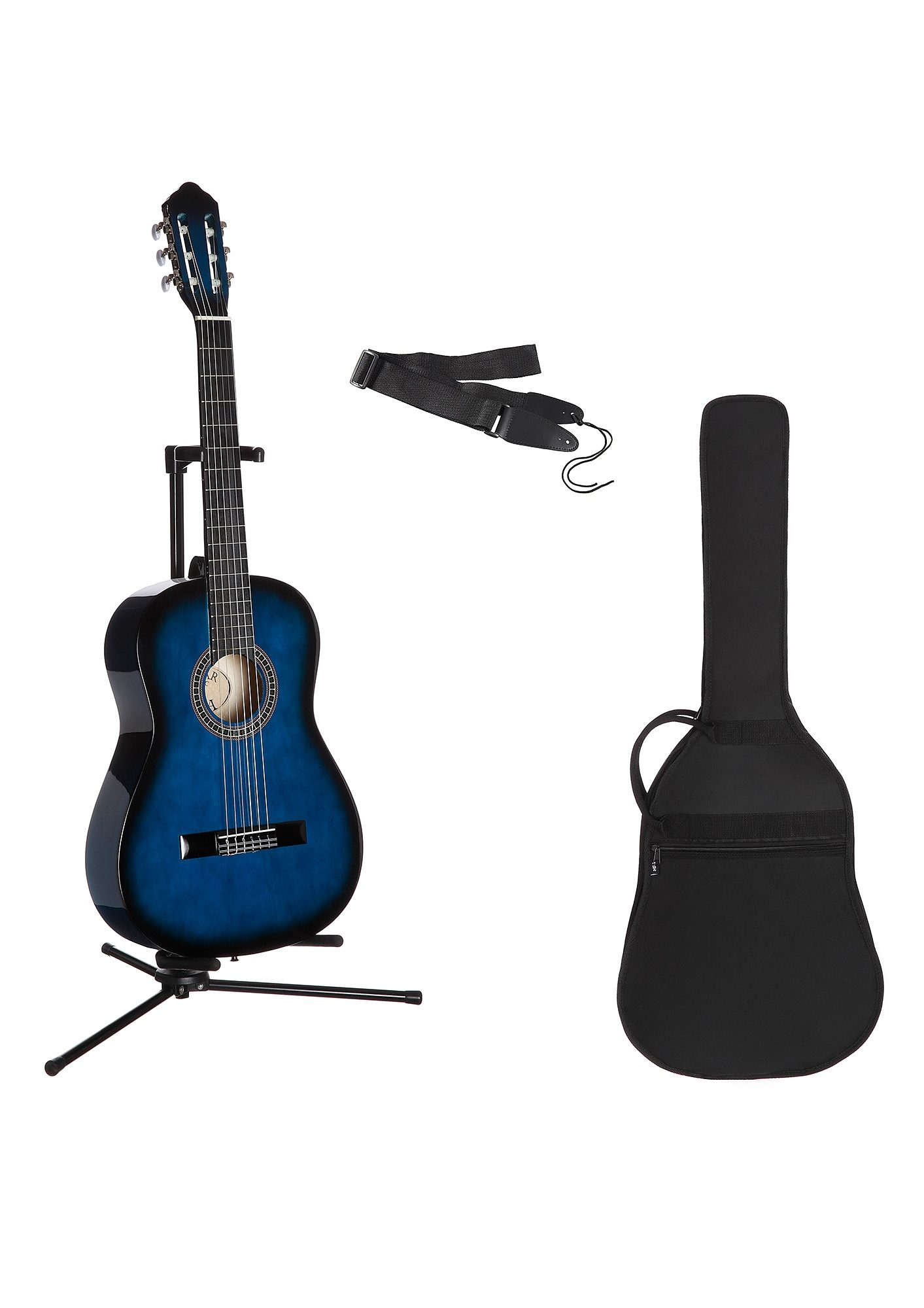 Gitarrenset Konzertgitarre, 1/4, inkl. Gitarrentasche und Gitarrengurt blau Gitarre Musikinstrumente