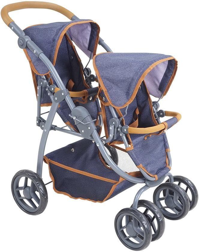 Knorrtoys Puppen-Zwillingsbuggy Milo - dark blue blau Kinder Puppenzubehör Puppen Puppenwagen