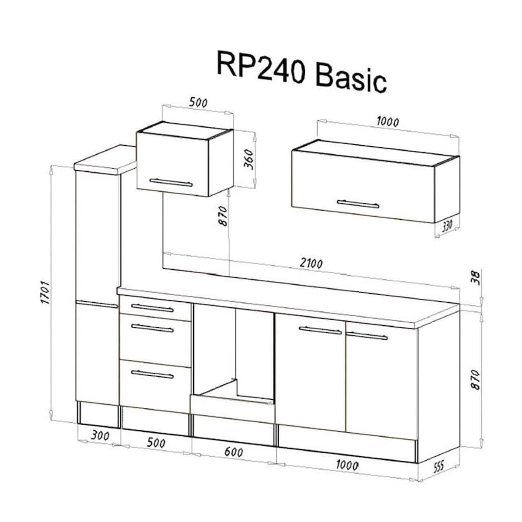 RESPEKTA Küchenzeile »RP240«, mit E-Geräten, Breite 240 cm