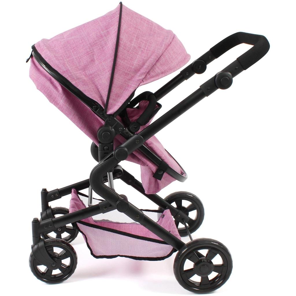 CHIC2000 Kombi-Puppenwagen »Lia, Jeans pink«, mit Puppen-Autositz