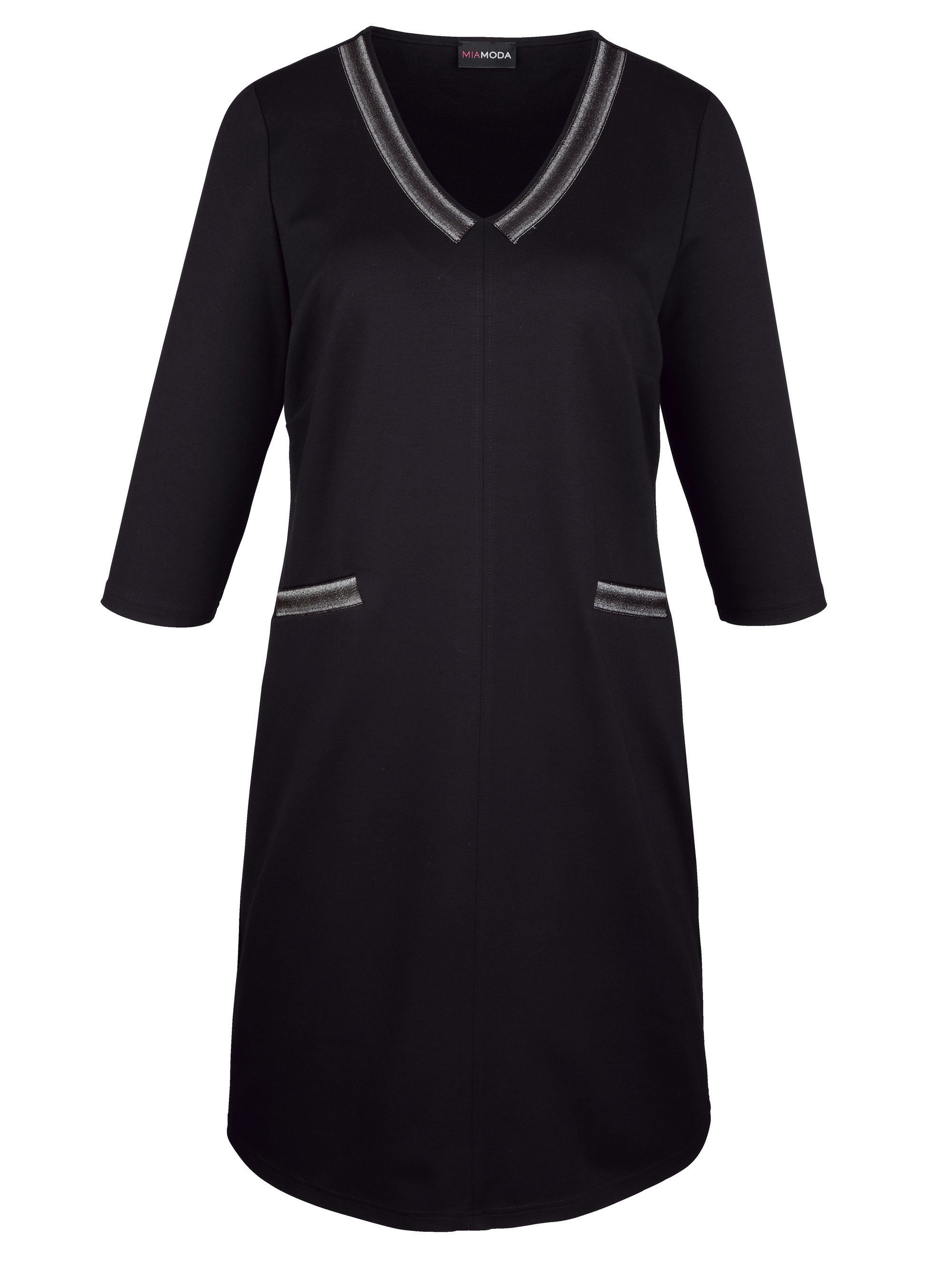 MIAMODA Jerseykleid mit Dekoband am Ausschnitt