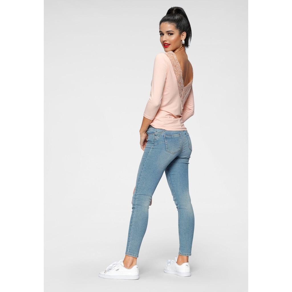Melrose Rundhalsshirt, mit tiefem Rückenausschnitt und Spitze