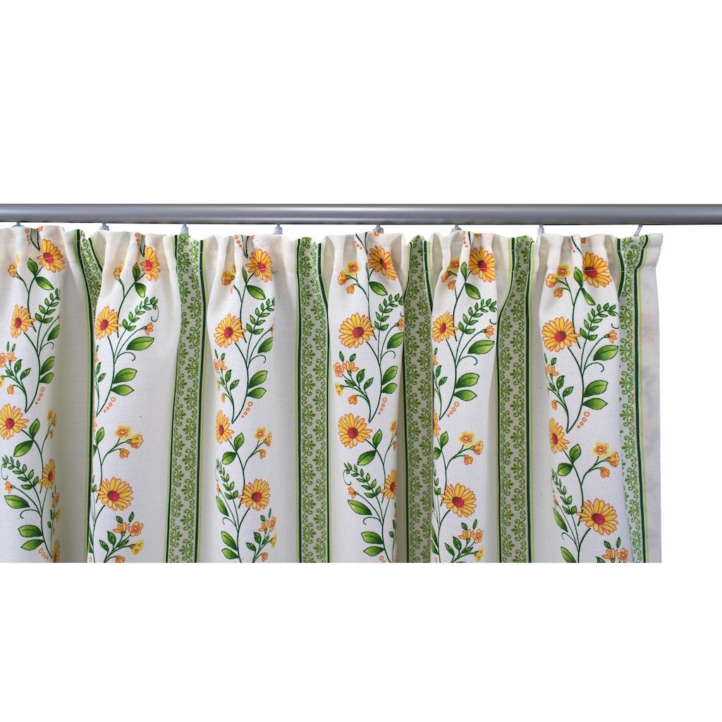 VHG Vorhang nach Maß »Fanny«, Leinenoptik, Blume, Streifen, Breite 150 cm