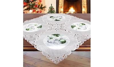 Delindo Lifestyle Mitteldecke »Christbaumkugeln«, Glattes Gewebe, bedruckt & bestickt kaufen