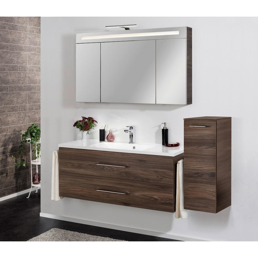 FACKELMANN Spiegelschrank »CL 120 - Ulme-Madera«, Breite 120 cm, 3 Türen, LED-Badspiegel, doppelseitig verspiegelt