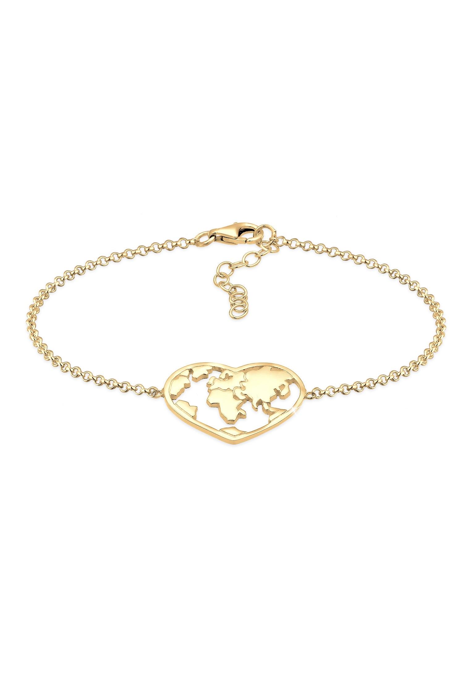 Armband Weltkugel Globus Reise Nylon Bändchen 925 Silber, Rosegold, 16 cm